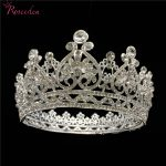 Romantic Silver Bride Tiara Full Round Crown Crystal Princess Pageant Prom Diadem Bridal <b>Wedding</b> Hair <b>Jewelry</b> RE3043