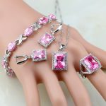 925 Sterling <b>Silver</b> Jewelry Mystic Pink Zircon White CZ Princess Jewelry Sets For Women Earrings/Pendant/Necklace/Ring/<b>Bracelet</b>