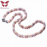 HENGSHENG Mix Color Women Pearl <b>Jewelry</b> Necklace,925 <b>Sterling</b> <b>Silver</b> Necklace,8-9mm Beads <b>Jewelry</b>,60cm Length,White/Pink/Purple
