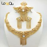 2016 <b>Handmade</b> Dubai Gold-color <b>Jewelry</b> Sets Fashion Big Nigerian Wedding African Beads <b>Jewelry</b> Sets Costume Dubai For Women