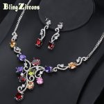 BlingZircons Nigerian Multicolour Red Purple Pink CZ Stone Bridal Wedding <b>Jewelry</b> Sets With Crystal <b>Necklace</b> Earrings JS102