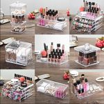 <b>fashion</b> Cosmetic Makeup Nail Polish Varnish Display Stand Rack Holder Booking <b>Jewelry</b> Acrylic Packaging Organizer Storage Box