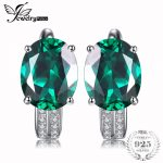 JewelryPalace 3.5ct Green Nano Russian Created Emerald Clip On Earrings Pure 925 Sterling <b>Silver</b> Fashion <b>Jewelry</b> Nice Gift