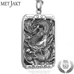 MetJakt Chinese Culture Dragon and Cloud Pendant & Snake Chain Solid 925 <b>Sterling</b> <b>Silver</b> Men's Lucky Auspicious <b>Jewelry</b>