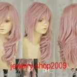 Free Shipping New High Quality <b>Fashion</b> Picture full lace wigs>>New wig Cosplay Lightning serah New Long Mix pink Curly Wig