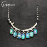 Elegant opal necklace for evening party 7 pcs natural Australia opal <b>silver</b> necklace 925 <b>sterling</b> <b>silver</b> opal <b>jewelry</b>