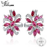 JewelryPalace Unique Design 2.1ct Created Red Ruby Clip On <b>Earrings</b> 925 Sterling <b>Silver</b> 2018 New Fine Jewelry For Women Fashion