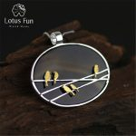 Lotus Fun Real 925 <b>Sterling</b> <b>Silver</b> Natural Agate Handmade Fine <b>Jewelry</b> Lovely Birds Pendant without Necklace Acessorio for Women
