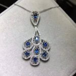 Natural blue sapphire pendant S925 <b>silver</b> Natural gemstone Pendant Necklace trendy lovely Peacock tail fan women party <b>jewelry</b>