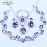 925 <b>Silver</b> Color Jewelry Sets For Love Women Purple Cubic Zircon Fashion Jewelry <b>Bracelets</b> Pendants Hoop Earrings rings Sets