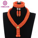 2017 New Chunky Coral <b>Handmade</b> Gold African Beads <b>Jewelry</b> Set Nigerian Coral Bridal Necklace Set for Brides Free Shipping ABH226