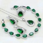 925 Silver Bridal <b>Jewelry</b> Green Rhinestone White CZ Costume <b>Jewelry</b> Sets For Women Stud Earrings/Pendant/<b>Necklace</b>/Bracelet/Ring
