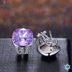 Popular 925 Sterling <b>Silver</b> 5 Colors Square Cubic Zirconia Stone Austria Crystal Classic Clip <b>Earring</b> Women Jewelry brinco