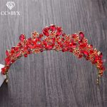 CC Tiaras And Crowns Hairbands Red CZ Stone Engagement Wedding Hair Accessories For Bridal Fine <b>Jewelry</b> <b>Handmade</b> Crystal XY102
