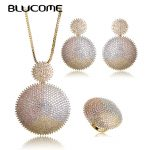 Blucome Luxury Three Tones Colors Sun Flower Shape Pendant <b>Necklace</b> Earrings Ring Set Shining Rhinestones <b>Jewelry</b> Sets For Women