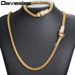 Davieslee Miami Fraco Box Womens Mens Jewelry Set Iced Out Cubic Zirconia CZ 316L Stainless Steel Gold <b>Silver</b> Tone 6mm DHSM02