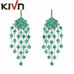 KIVN Fashion <b>Jewelry</b> Long Blue CZ Cubic Zirconia Chandelier Women Girls Bridal <b>Wedding</b> Earrings Mothers Promotion Birthday Gifts