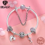 925 <b>Sterling</b> <b>Silver</b> Pulseira Couple Love Infinity Key Pink Heart Crystal Femme Bracelets Bangles for Women <b>Silver</b> <b>Jewelry</b> ECB811