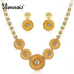 Viennois Classic Gold Color Round <b>Jewelry</b> Set for Woman Rhinestone Chain <b>Necklaces</b> Dangle Earrings Bridal Wedding Party Set