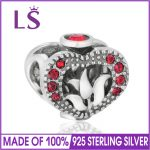 LS Genuine 100% 925 Sterling Silver Loving Flower Charm Bead with Red CZ fit Bracelet For <b>Jewelry</b> <b>Making</b>