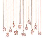 LouLeur 925 sterling <b>silver</b> natural pink crystal Twelve constellations <b>necklace</b> Rose Quartz pendants <b>necklace</b> for women jewelry