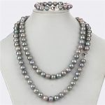 SNH 10mm off round AA- grade grey color natural freshwater pearl sets jewelry 925 sterling <b>silver</b> clasp free shipping