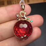natural red Fireworks topaz pendant S925 <b>silver</b> Natural gemstone Pendant Necklace trendy delicate round women wedding <b>jewelry</b>
