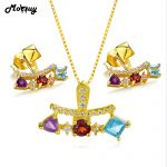 MoBuy 3Natural Gemstone 2pcs Jewelry Sets 100% 925 Sterling <b>Silver</b> For Women Vintage Engagement Fine Jewelry V013EN