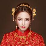 <b>Handmade</b> Beaded Headdress Ancient Chinese Bride Wedding Hair <b>Jewelry</b> Sets Gold Color Tassel Step Shake Headwear Combs Costume