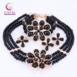 Wholesale <b>Handmade</b> 2017 Nigerian Wedding African Beads <b>Jewelry</b> Set Gold-color Crystal Beads Necklace <b>Jewelry</b> Set Free Shipping