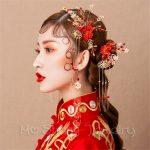 Vintage Chinese Kont Bride Headdress Costume Coronet Tassel Hair Stick Wedding Hair Accessories <b>Handmade</b> Hair <b>Jewelry</b>