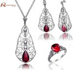 Luxury Pendants <b>Earrings</b> Ring Set Natural Pearl Jewelry Sterling <b>Silver</b> 925 Inlay Red CZ Stone Crystal Fashion Jewelry Set