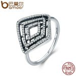 BAMOER High Quality 100% 925 Sterling Silver Geometric Lines, Clear CZ Finger Ring for Women Anel Engagement <b>Jewelry</b> Gift PA7642