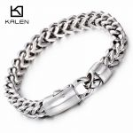 Kalen New Fashion 22cm Link Chain Bracelets Stainless Steel <b>Jewelry</b> High Polished Hand Chain Cheap Men's <b>Accessories</b> Gifts 2017