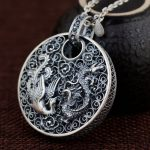 FNJ 925 Silver Phoenix Pendant Dragon Animal Good Luck 100% Pure S990 Solid Thai Silver Pendants for Women Men <b>Jewelry</b> <b>Making</b>