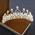 Romantic Bridal Tiara Crowns Princess Queen Rhinestone Golden Color Headband Simulated Pearl <b>Jewelry</b> For Wedding Gift Classic