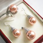 Prett Lovely Women's Wedding Hot! beautiful new <b>jewelry</b> plated + 12mmpink shell pearl pendant, earring, , ring set