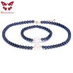 2017 Beautiful Natural Black Pearl Jewelry Sets For Women,Fashion Jewelry Women Necklace & <b>Bracelet</b>,Near Round Pearl Wedding Set