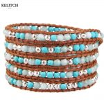 KELITCH <b>Jewelry</b> 1Pc Bohemian Multicolor Synthetic Stone Bead Brown Leather Chain 5 Wrap Weave <b>Handmade</b> Charm Bracelet Nice Packs
