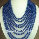 New fashion 8 rows 6mm blue lapis lazuli round beads chain strand necklace for women elegant <b>jewelry</b> <b>making</b> 17-24inch MY2072