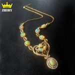 Genuine Fire Opal Necklace Natural Gem Solid 925 <b>Sterling</b> <b>Silver</b> Women Stone <b>Jewelry</b> Dinner Party