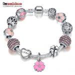 LZESHINE <b>Antique</b> Silver Charm Bracelet & Bangle With Love Flower Crystal Ball Beads Bracelets For Women Wedding <b>Jewelry</b> PDBR0004