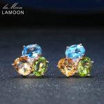 LAMOON 3pcs 3ct Oval Yellow Citrine Green Peridot Blue Topaz 925 sterling-<b>silver</b>-jewelry <b>Earring</b> S925 LMEI037