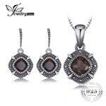 JewelryPalace Vintage <b>Jewelry</b> Sets 1.4ct Genuine Smoky Quartz Dangle Earrings Pendant Necklace Women 925 <b>Sterling</b> <b>Silver</b> <b>Jewelry</b>