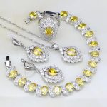 925 <b>Silver</b> Jewelry Yellow Rhinestone White CZ Bridal Jewelry Sets For Women Engagement Ring/Earring/Pendant/Necklace/<b>Bracelet</b>
