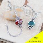 Fashion 925 Sterling <b>Silver</b> Vintage Handmade Red Garnet & Blue Agate <b>Bracelet</b> Women Thai <b>Silver</b> Gift Jewelry CH029246