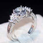 Classical Simple Fashion <b>Jewelry</b> <b>Handmade</b> 925 Sterling Silver Three Stone 5A White Clear Zirconia Women Wedding Band Ring Gift