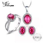 Jewelrypalace Classic Pink Created Sapphire 925 <b>Sterling</b> <b>Silver</b> Crystal <b>Jewelry</b> Set Ring Earring Pendant Wedding Vintage <b>Jewelry</b>