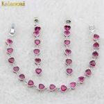 KSLANCAI 925 <b>Silver</b> Jewelry Sets Sterling <b>Silver</b> Earring Needle Red AAA Zircon For Earring /<b>Bracelet</b> For Wedding Free shiping