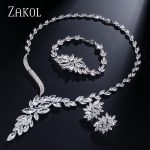 ZAKOL Classic Marquise Cubic Zircon <b>Jewelry</b> Sets With Exquisite Sliver Color Women For Wedding FSSP287
